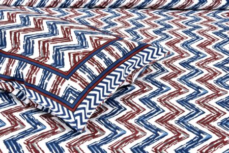 Zigzag Pulse Navy Blue Pure Cotton Double Bedsheet Closeup