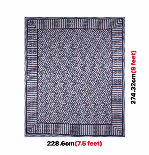 Zigzag Pulse Navy Blue Pure Cotton Double Bedsheet Full View