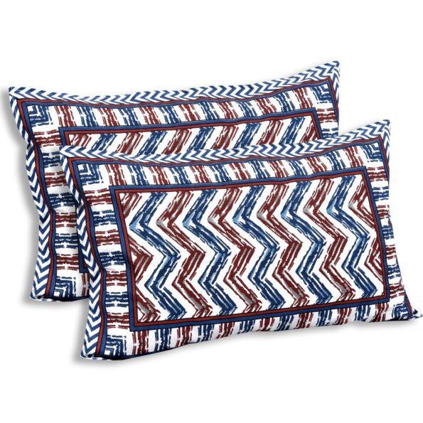 Zigzag Pulse Navy Blue Pure Cotton Double Bedsheet Pillow