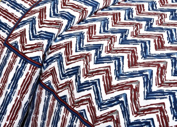 Zigzag Pulse Navy Blue Pure Cotton Double Bedsheet Side View