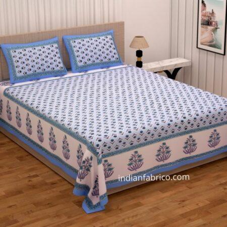 Beautiful Blue Base Floral Print Double Bedsheet