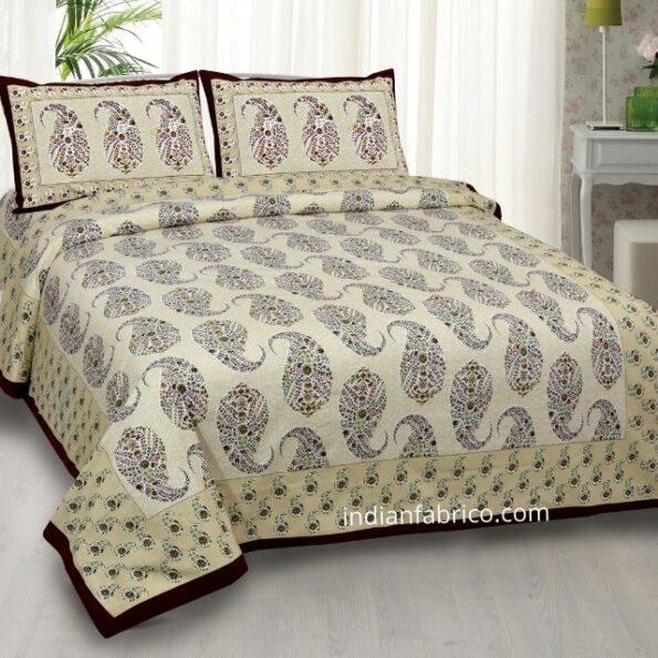 Beautiful Brown Base Seashell Print Double Bedsheet