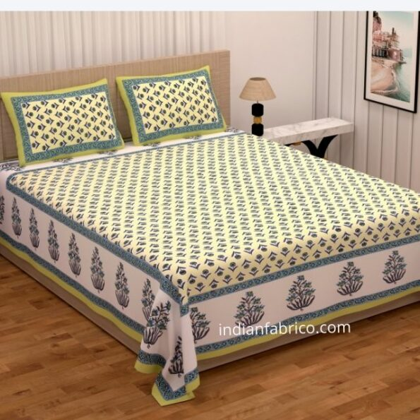 Beautiful Green Base Floral Print Double Bedsheet