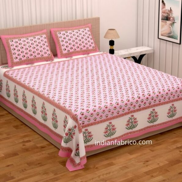 Beautiful Pink Base Floral Print Double Bedsheet