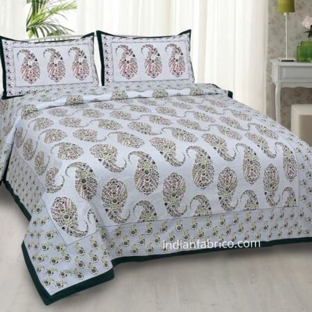 Beautiful Seashell Print Double Bedsheet with 2 Pillow Covers