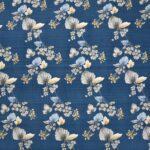 Blue Base Floral Paisley Pattern King Size Bedsheet Closeup