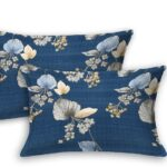 Blue Base Floral Paisley Pattern King Size Bedsheet Pillow