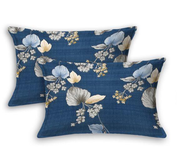 Blue Base Floral Paisley Pattern King Size Bedsheet Pillow