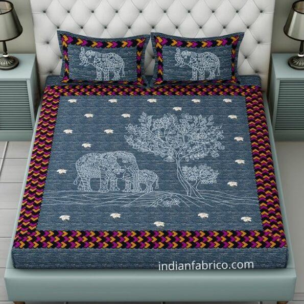 Blue Elephant Pure Giza Cotton Double Bedsheet