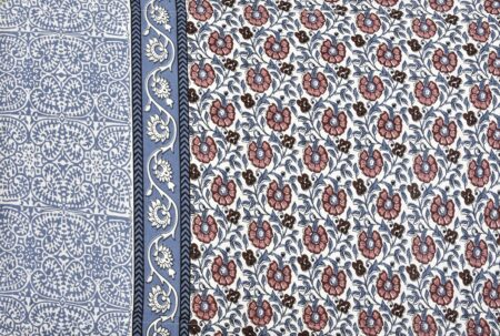 Blue Floral Print Single Bed Sheet Side View