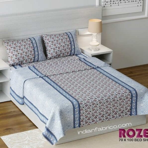 Blue Floral Print Single Bed Sheet with Two Pillow Cover