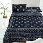 Dark Black Color Square Border Double Bedsheet