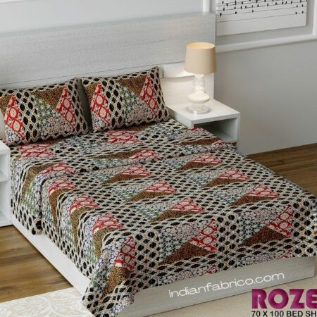 Dark Brown Triangle Print Single Bed Sheet with Two Pillow Cover