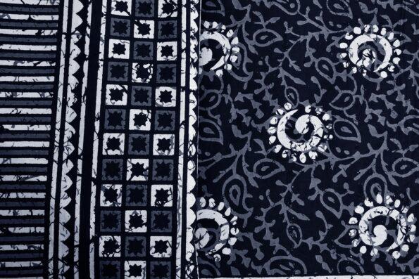 Dark Indigo Black Color Square Border King Size Bedsheet Closeup