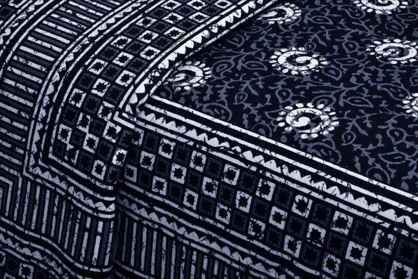 Dark Indigo Black Color Square Border King Size Bedsheet Side view
