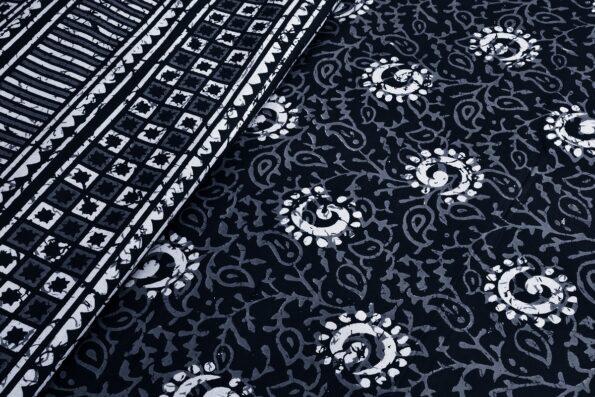 Dark Indigo Black Color Square Border King Size Bedsheet Top view