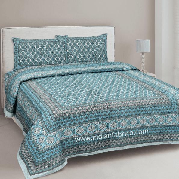 Ethnic Jaipuri Charm Green Double Bedsheet