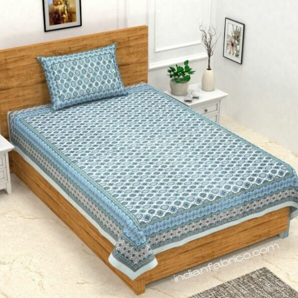 Ethnic Jaipuri Charm Green Single Bed Sheet