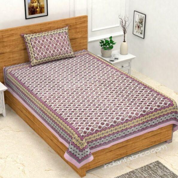 Ethnic Jaipuri Charm Pink Single Bed Sheet