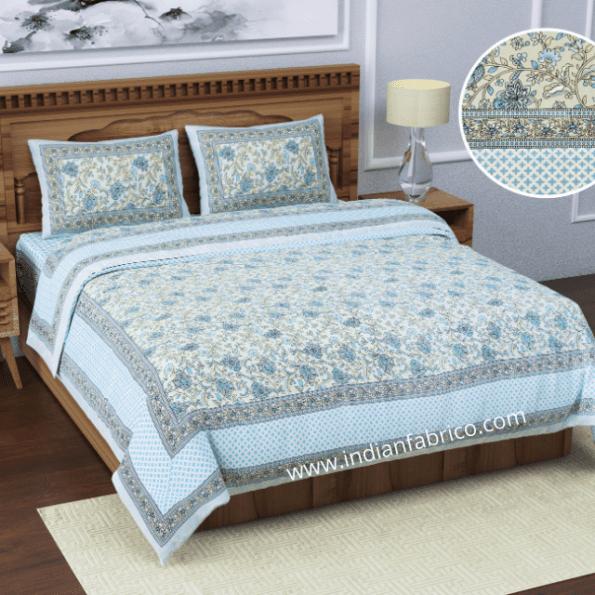 Ethnic Jaipuri White base Flower Print Pure Cotton King Size Bedsheet