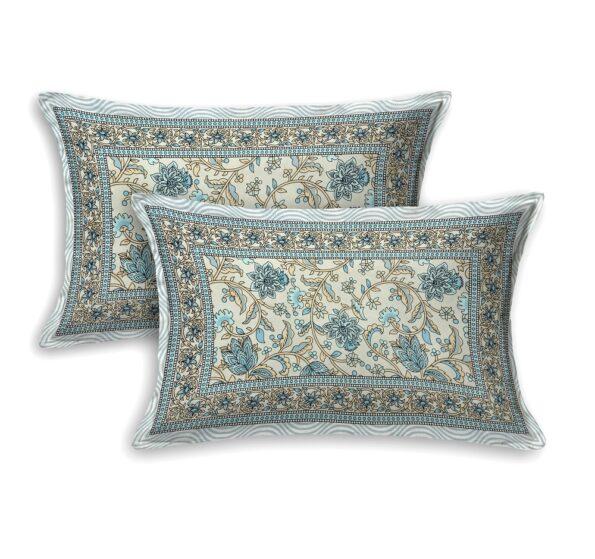 Ethnic Jaipuri White base Flower Print Pure Cotton King Size Bedsheet Pillow