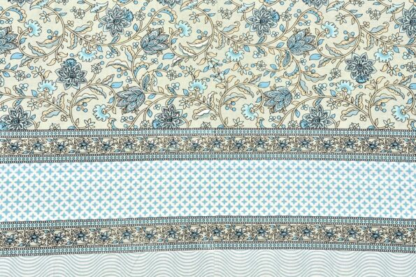 Ethnic Jaipuri White base Flower Print Pure Cotton King Size Bedsheet Sideview