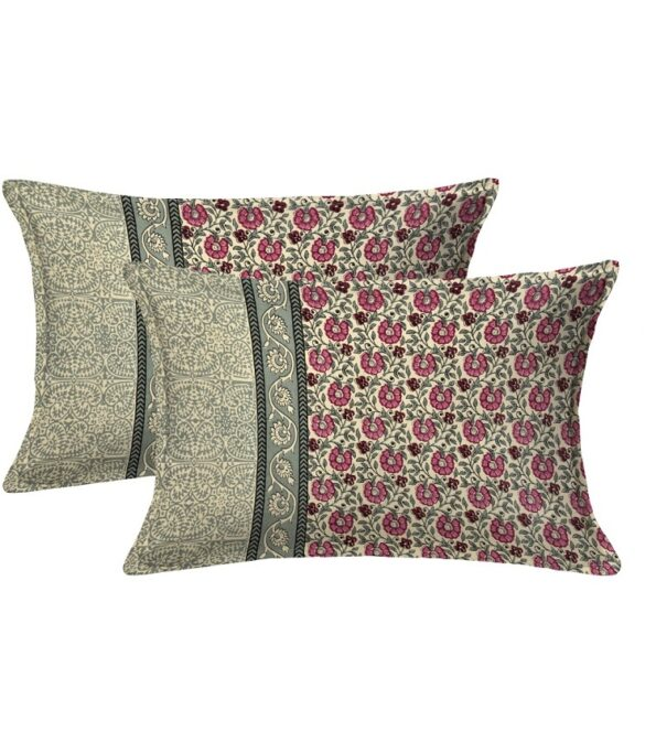 Pink Floral Print Single Bed Sheet Pillow Cover