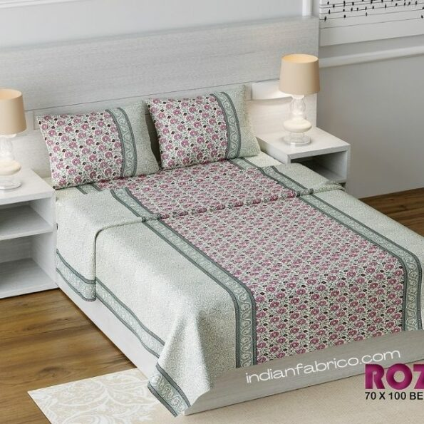 Pink Floral Print Single Bed Sheet with Two Pillow Cover