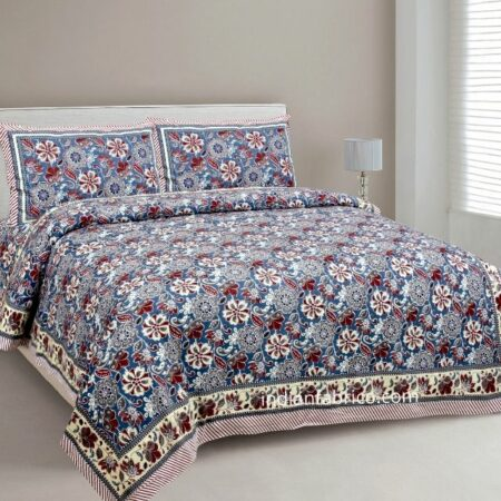 Awesome Mausam Blue Flower Print Pure Cotton Double Bedsheet