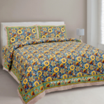 Awesome Mausam Yellow Flower Print Pure Cotton Double Bedsheet