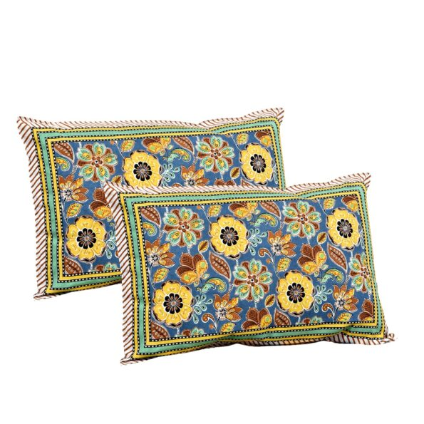 Awesome Mausam Yellow Flower Print Pure Cotton Double Bedsheet Pillows