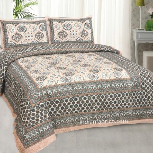 Awesome leaves Brown Cream Double Bedsheet