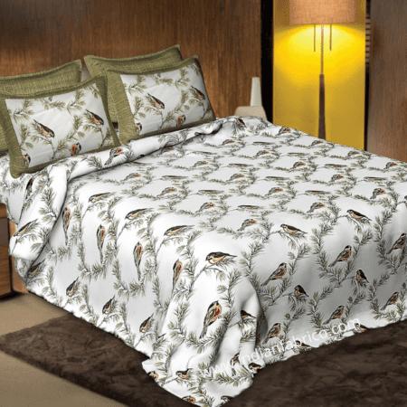 Beautiful Green Bird Pattern Cotton King Size Bed Sheet