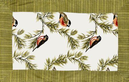 Beautiful Green Bird Pattern Cotton King Size Bed Sheet Closeup