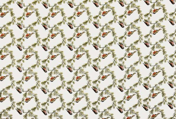 Beautiful Green Bird Pattern Cotton King Size Bed Sheet Full View