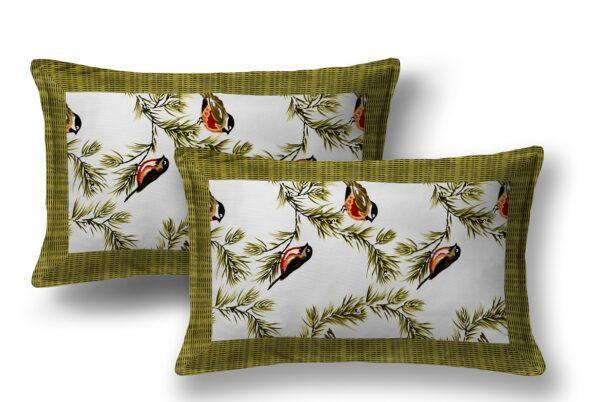 Beautiful Green Bird Pattern Cotton King Size Bed Sheet Pillows