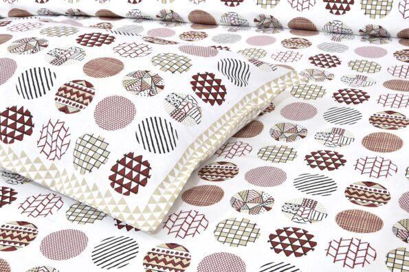Beautiful White Base Circle Print King Size Bedsheet Closeup