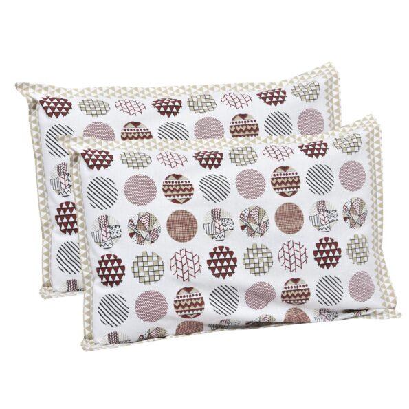 Beautiful White Base Circle Print King Size Bedsheet Pillow