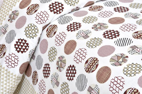 Beautiful White Base Circle Print King Size Bedsheet Size View