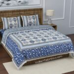 Ethnic Jaipuri Blue Flower Print King Size Bedsheet