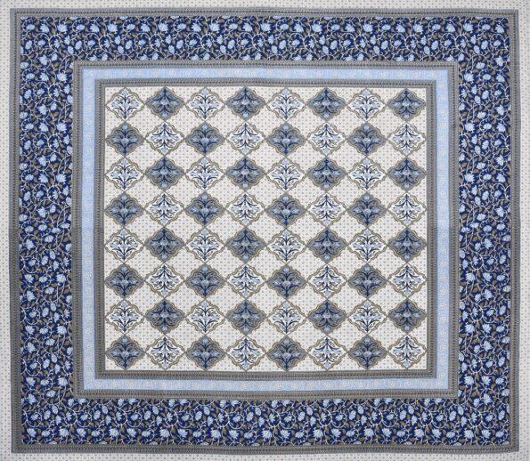 Ethnic Jaipuri Blue Flower Print King Size Bedsheet Full