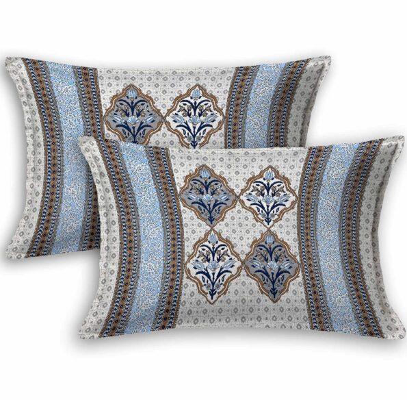 Ethnic Jaipuri Blue Flower Print King Size Bedsheet Pillows