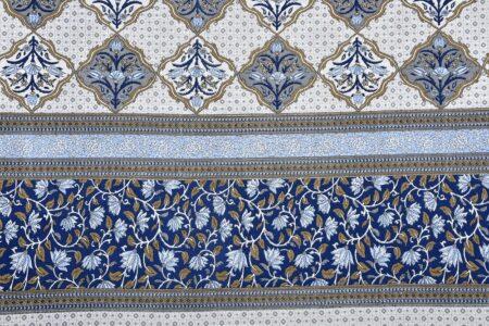 Ethnic Jaipuri Blue Flower Print King Size Bedsheet Sideview
