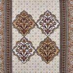 Ethnic Jaipuri Brown Flower Print King Size Bedsheet closeup