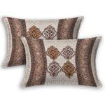 Ethnic Jaipuri Brown Flower Print King Size Bedsheet pillow