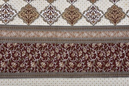 Ethnic Jaipuri Brown Flower Print King Size Bedsheet sideview