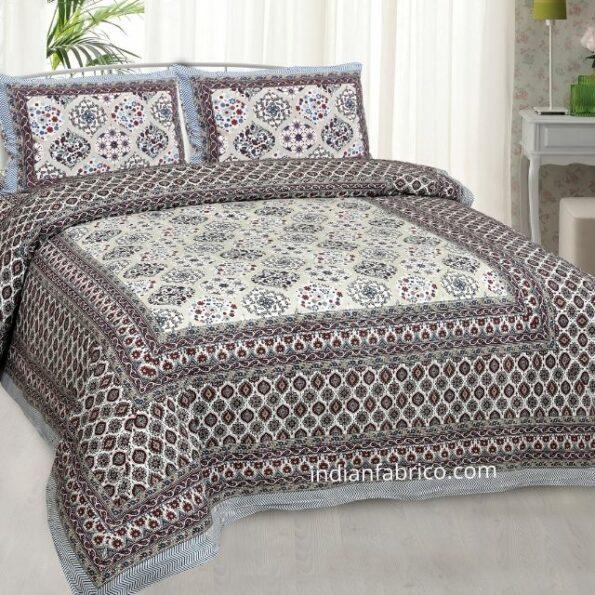 Ethnic Jaipuri Charm Cream Base Maroon Flower Double Bedsheet