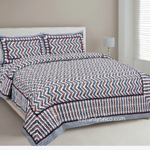 Zigzag Pulse Navy Blue Pure Cotton Double Bedsheet