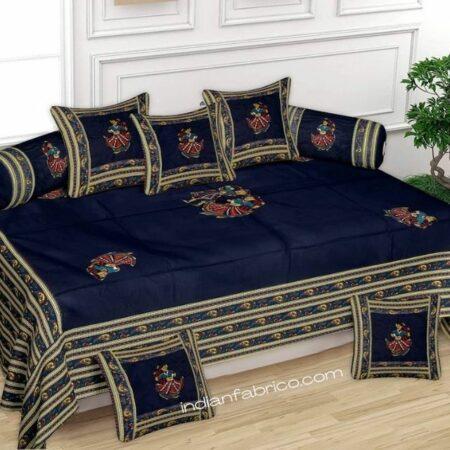 Applique Blue Dandiya Jaipuri Hand Made Embroidery Patch Work Diwan Set