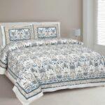 Artistic Modern Grey Brown Jaipuri Print Double Bedsheet
